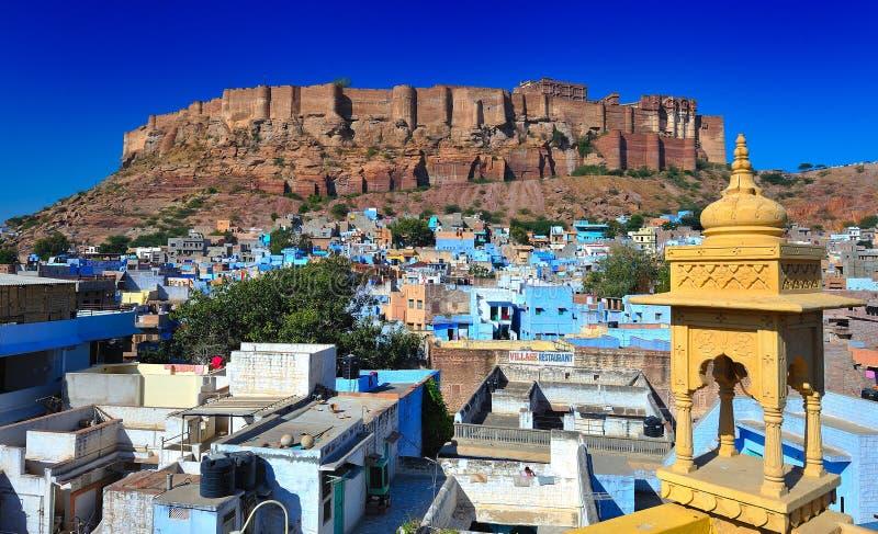 Vista frontale della fortificazione del mehrangarh nel jodhphur fotografia stock
