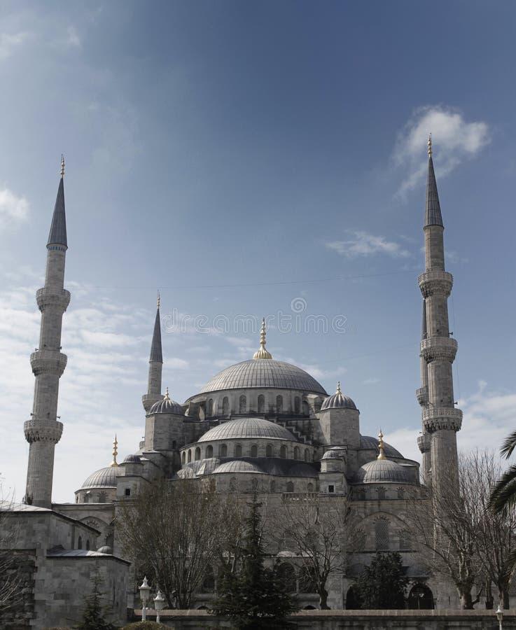 Vista frontale della moschea blu, Costantinopoli, tacchino immagini stock libere da diritti