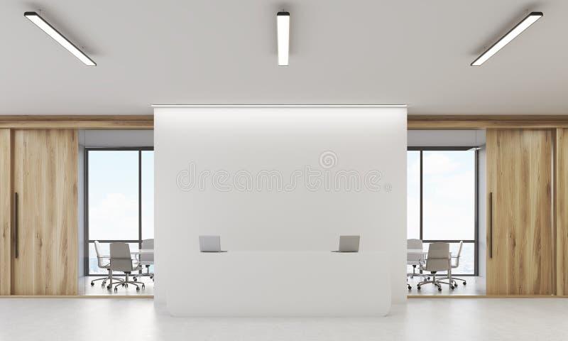 Vista frontale della reception illustrazione vettoriale