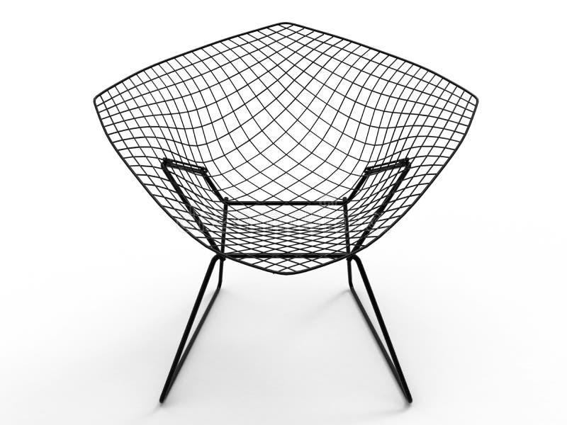 Vista frontale della sedia della rete metallica illustrazione vettoriale
