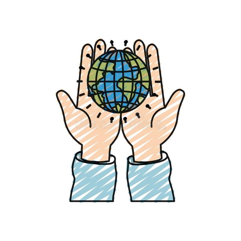 Vista frontale della siluetta del pastello di colore delle mani che tengono in palme un simbolo di carità del mondo del globo del illustrazione di stock