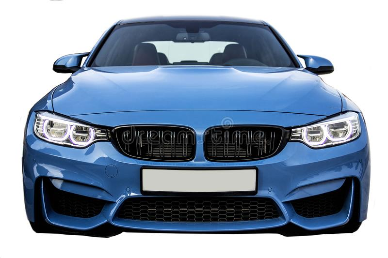 Vista frontale di BMW M3, automobile della berlina di sport di affari fotografia stock