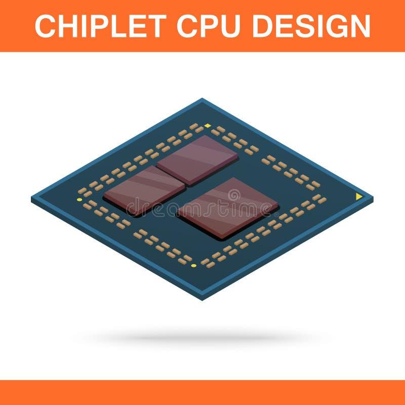 Vista frontale di chiplet di progettazione moderna realistica del CPU royalty illustrazione gratis