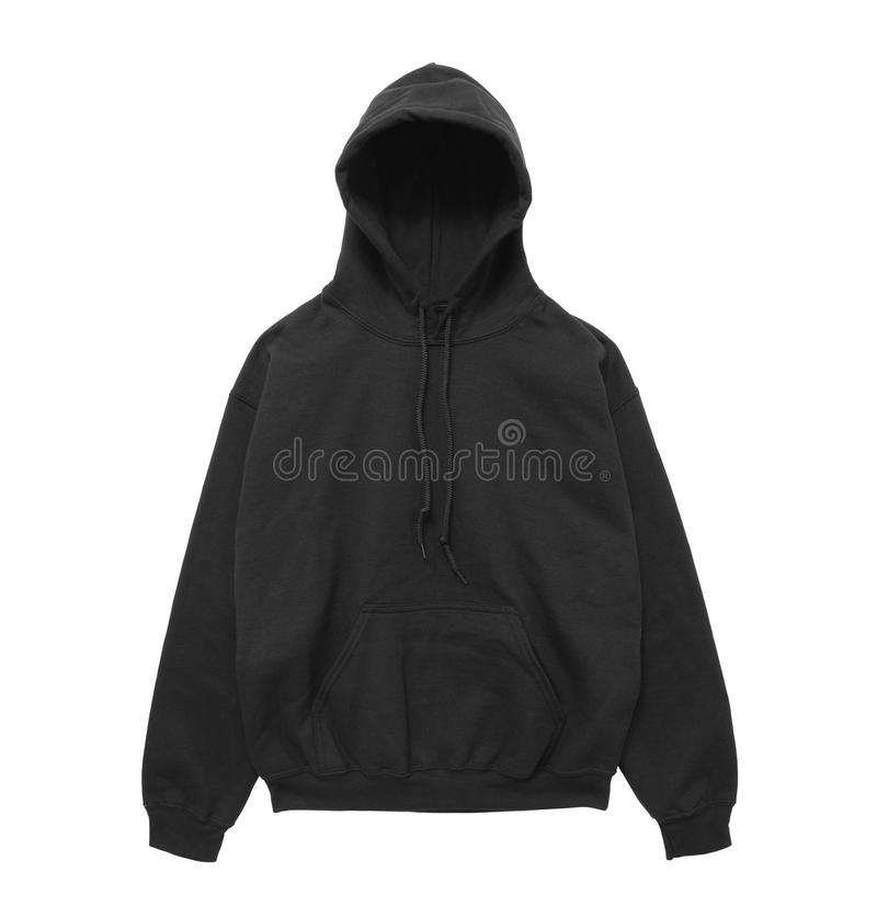 Vista frontale di maglia con cappuccio della maglietta felpata del nero in bianco di colore immagine stock