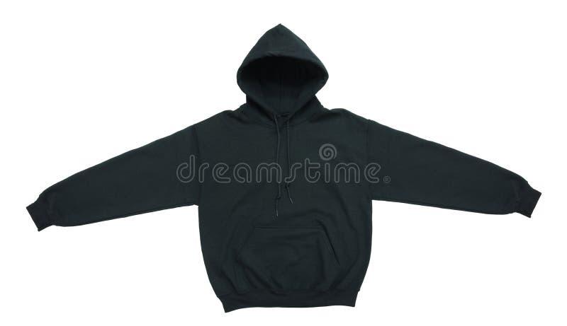 Vista frontale di maglia con cappuccio della maglietta felpata del nero in bianco di colore fotografia stock libera da diritti