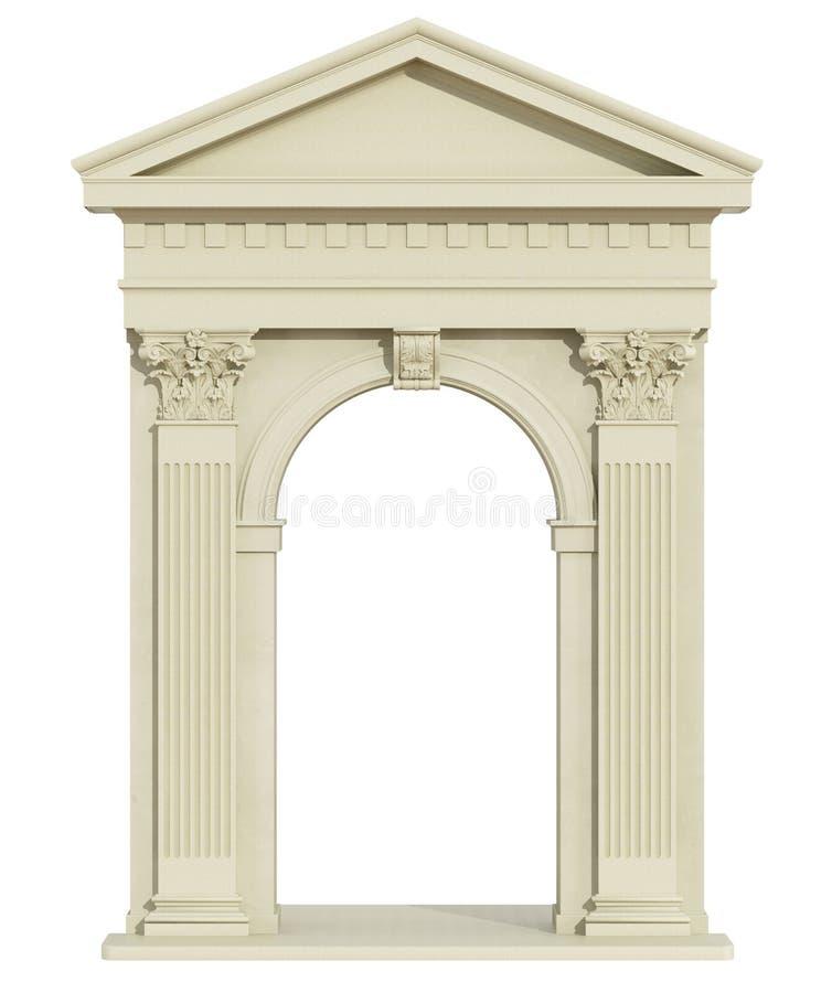 Vista frontale di un arco classico con il timpano triangolare royalty illustrazione gratis