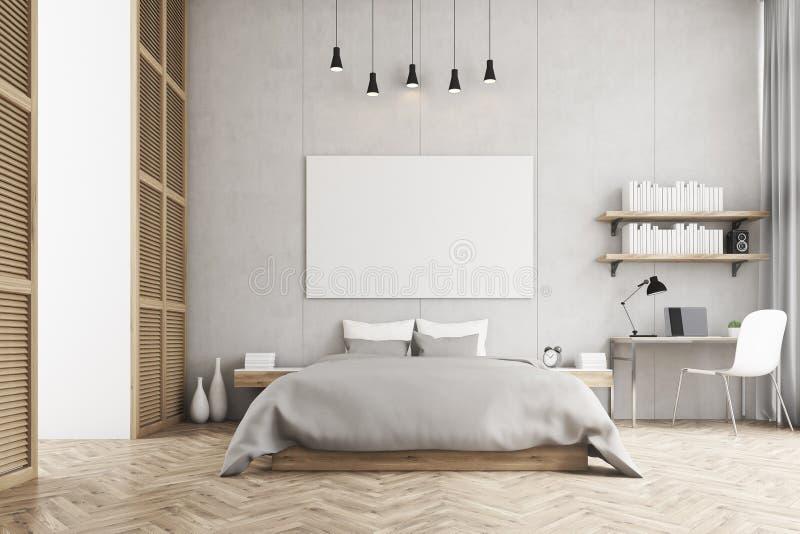 Vista frontale di un letto a due piazze e un angolo di studio in una camera da letto - Angolo studio in camera da letto ...