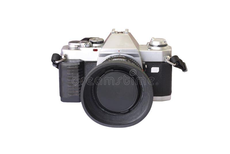 Vista frontale di vecchia macchina fotografica analog di modello fotografie stock libere da diritti