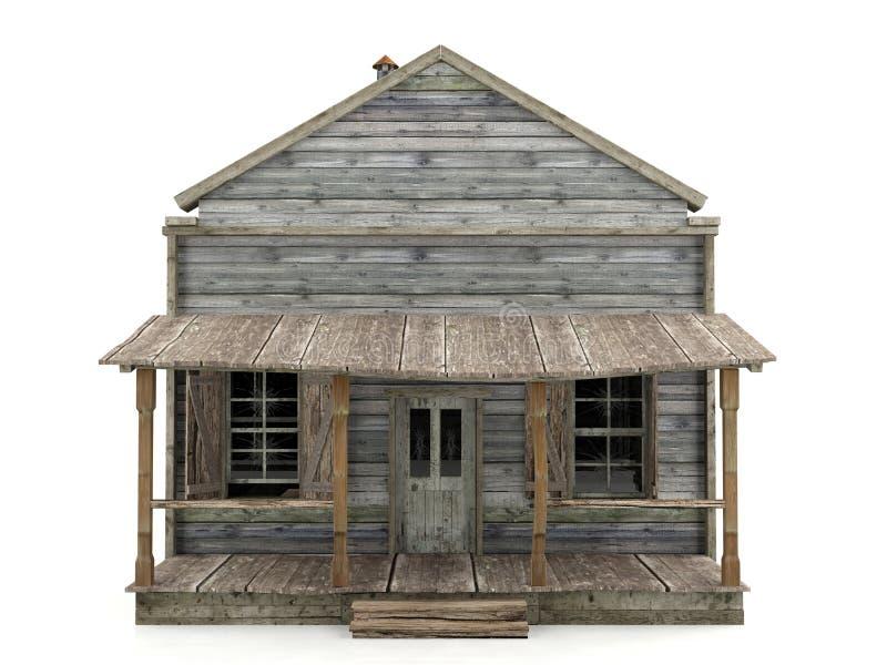 Vista frontale isolata casa abbandonata immagine stock libera da diritti