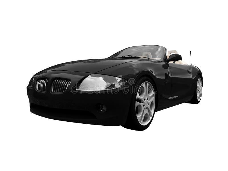 Vista frontale isolata dell'automobile nera royalty illustrazione gratis