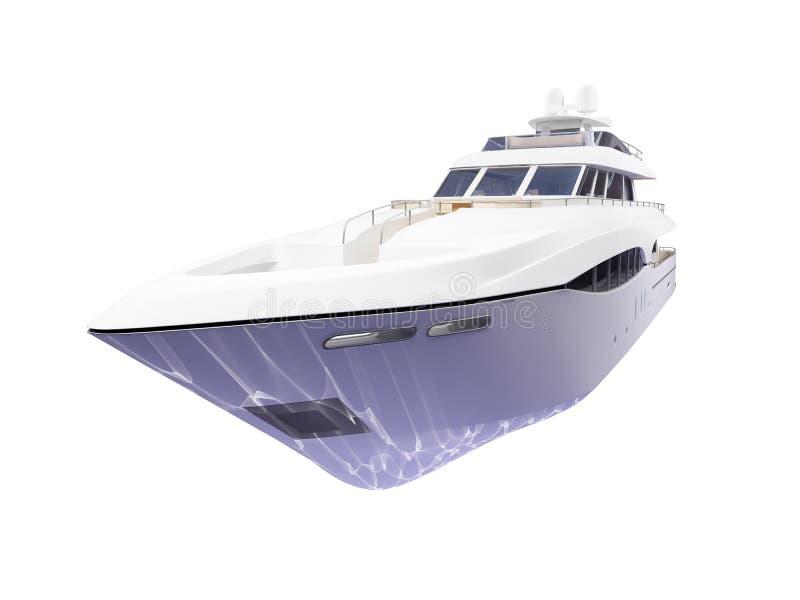 Vista frontale isolata grande yacht illustrazione di stock