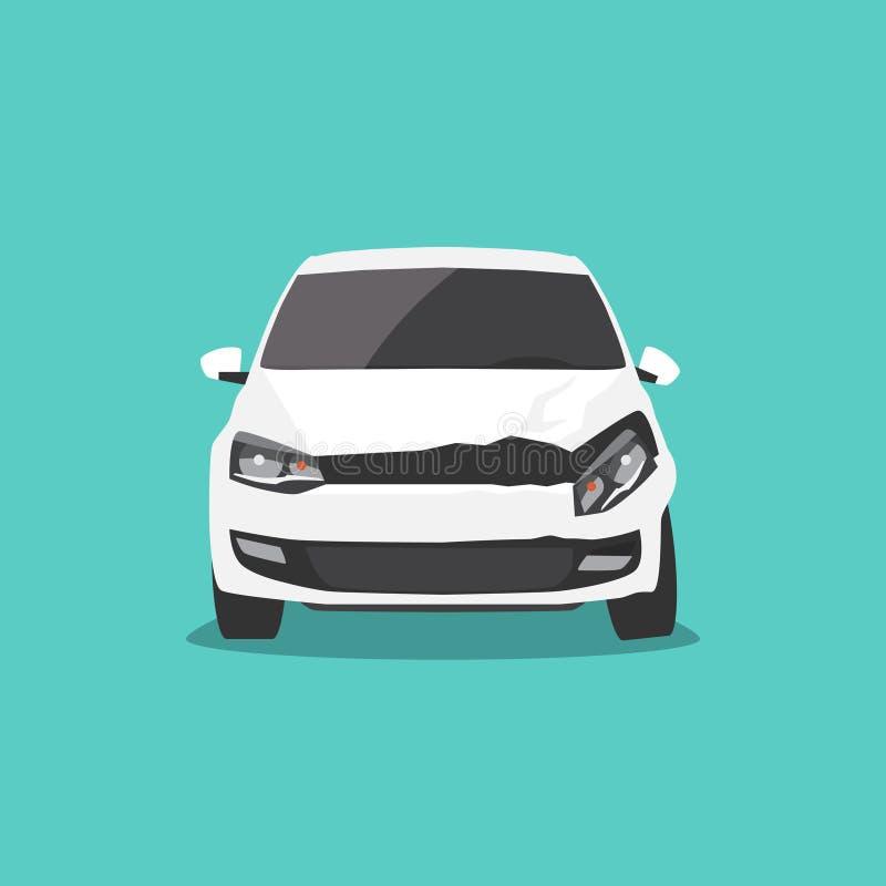 Vista frontale nociva dell'automobile bianca Incidente stradale Illustrazione di vettore illustrazione vettoriale