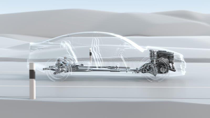 Vista geral abstrata da estrutura do carro da cidade durante a movimentação Ilustração do projeto 3d da opacidade fotos de stock