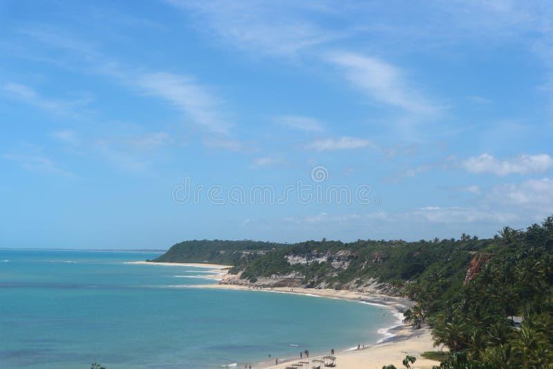 Vista geral cênico da praia de Espelho em Brasil fotografia de stock