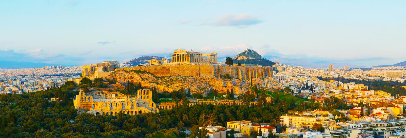 Vista geral cênico de Atenas com acrópole fotografia de stock