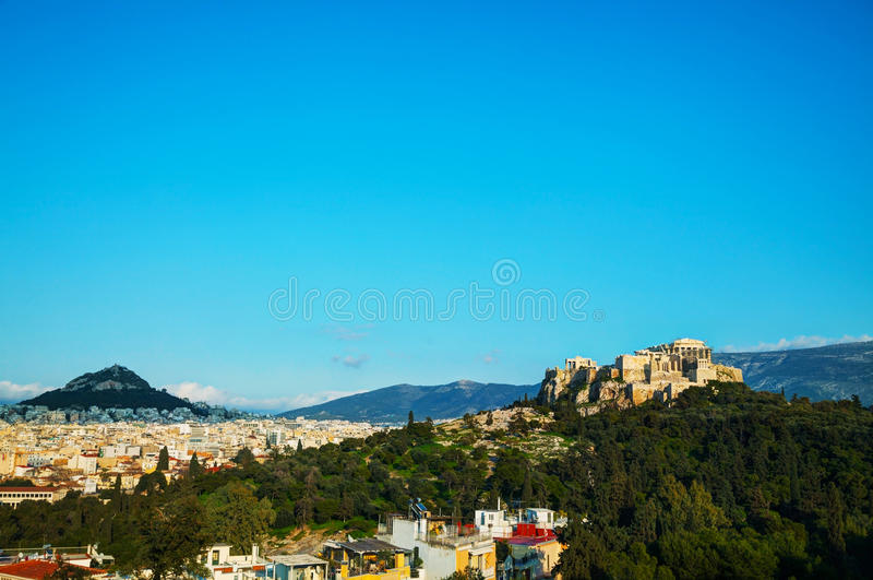 Vista geral da acrópole em Atenas, Grécia imagens de stock royalty free