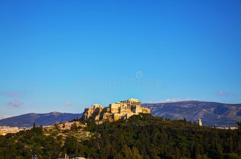 Vista geral da acrópole em Atenas, Grécia fotografia de stock