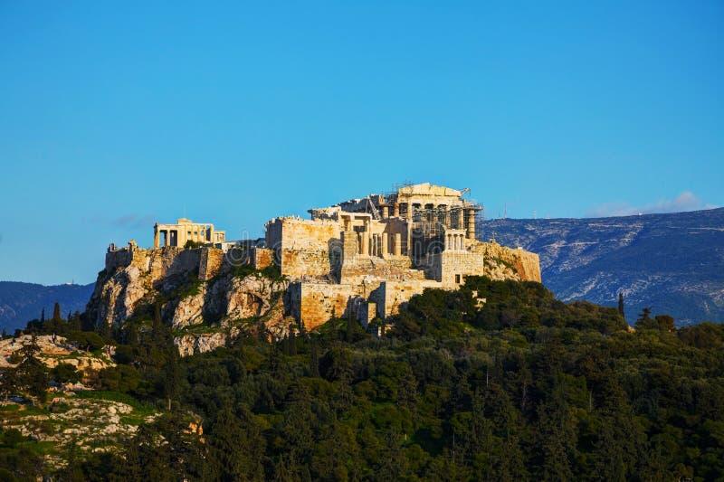 Vista geral da acrópole em Atenas, Grécia imagem de stock royalty free