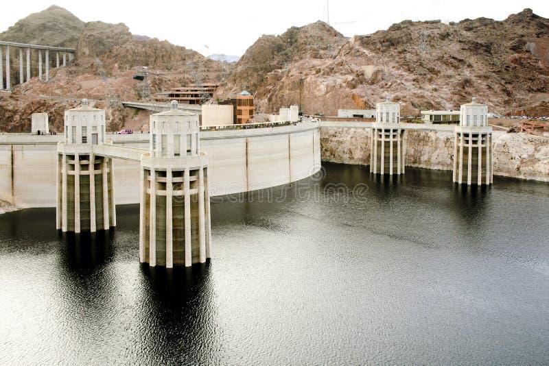 Vista geral da represa de Hoover fotografia de stock