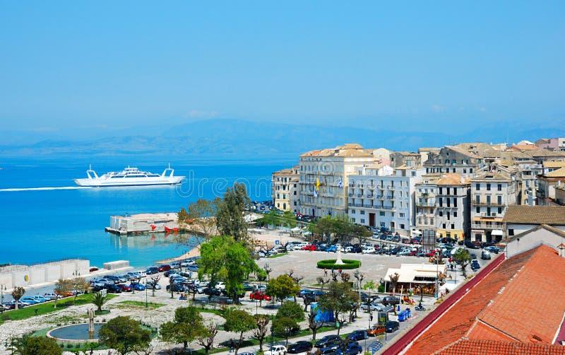Vista geral de Corfu, greece fotos de stock royalty free