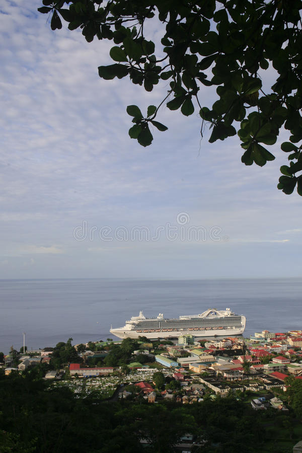Vista geral de Roseau, Dominica foto de stock
