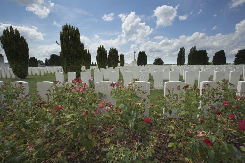 Vista geral do cemitério de Tyne Cot fotos de stock