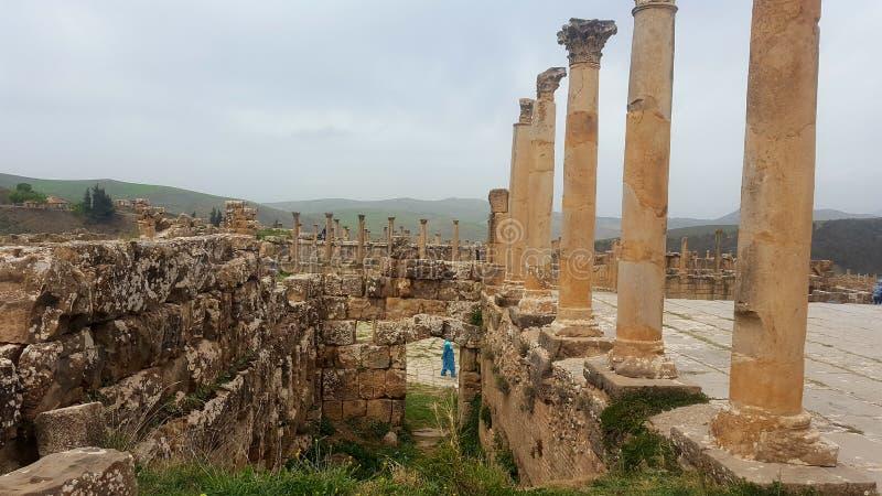 Vista geral do fórum, ruin& x27; s do djemila, Argélia imagem de stock