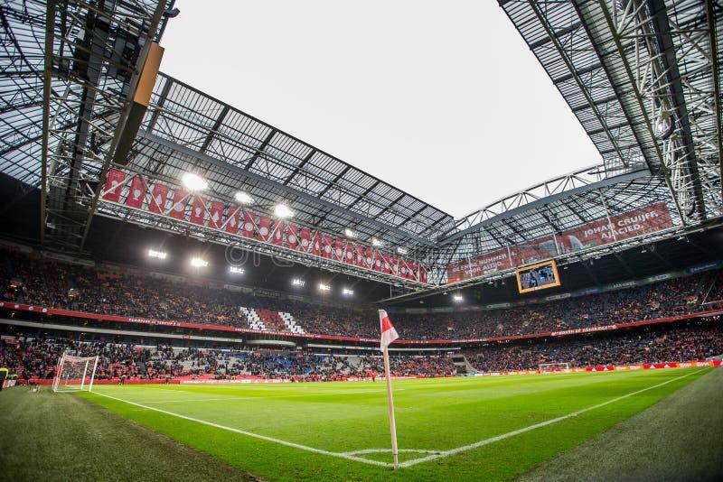 A vista geral do panorama do passo de futebol da arena de Amsterdão para dentro imagens de stock royalty free