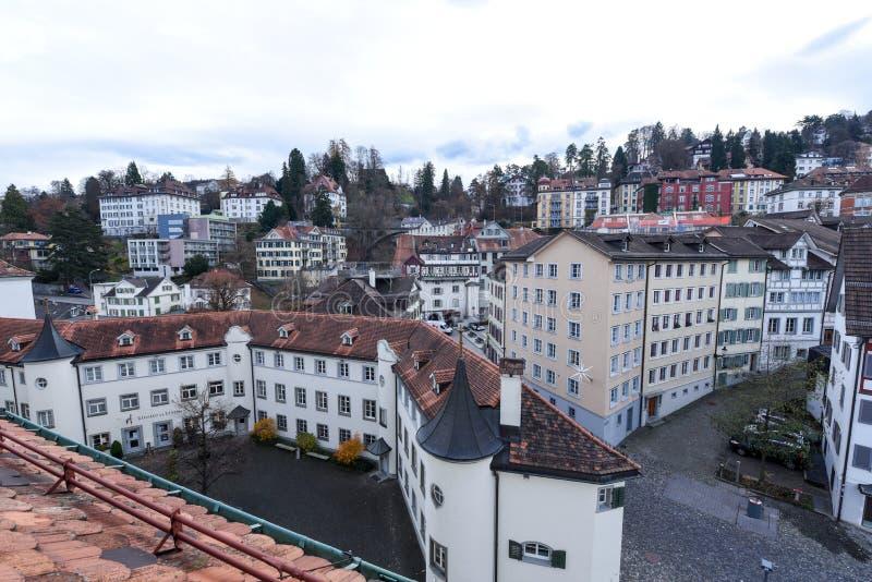 Vista geral na cidade velha de St Gallen em Suíça imagem de stock royalty free