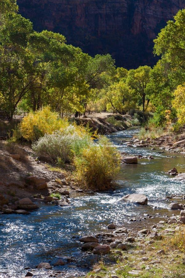 Vista giù il fiume vergine fotografie stock libere da diritti