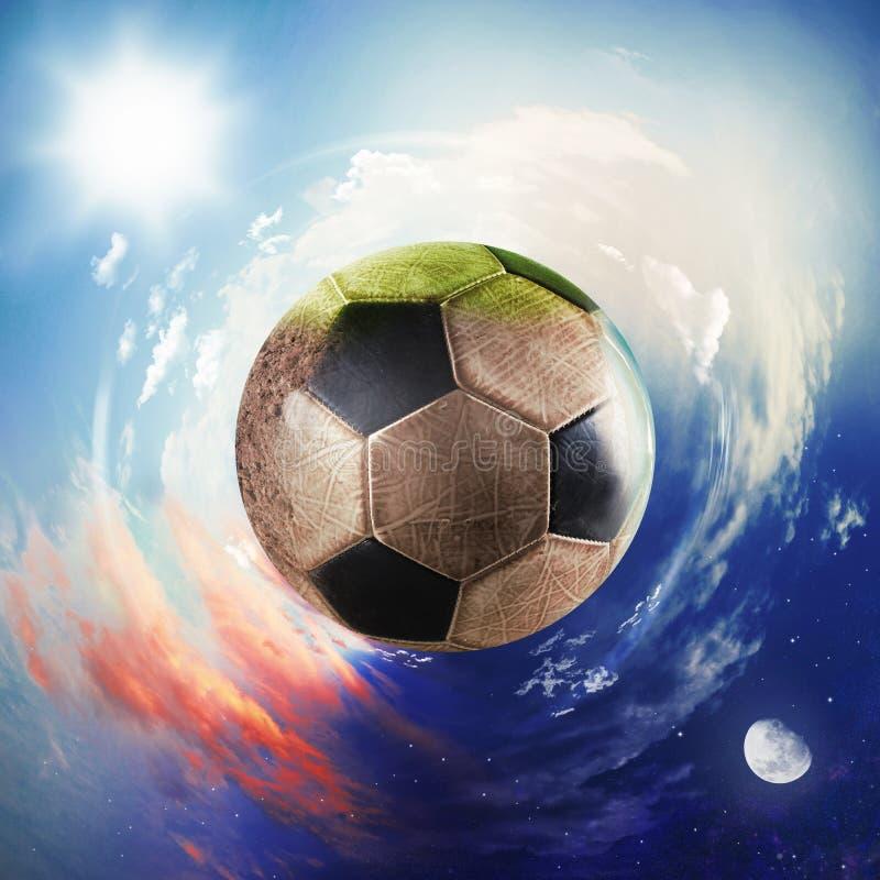 Vista global del mundo del fútbol bola del fútbol como planeta fotos de archivo