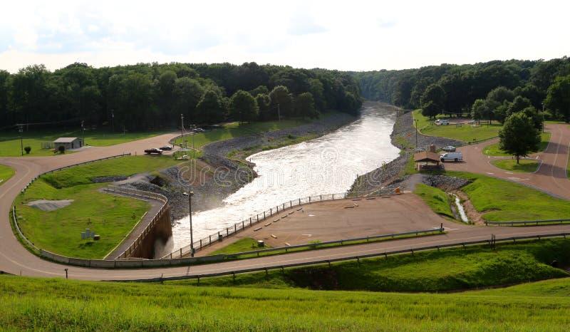 Vista grandangolare di bella diga di Arkabutla immagine stock libera da diritti