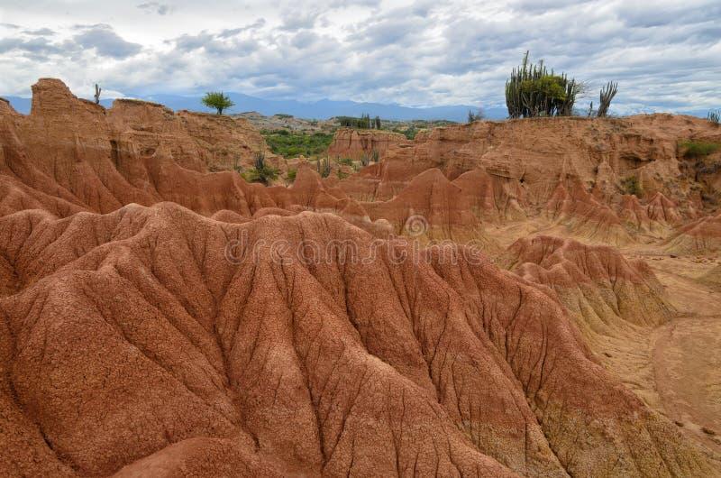 Vista imponente al paisaje colorido del desierto de Tatacoa imagen de archivo