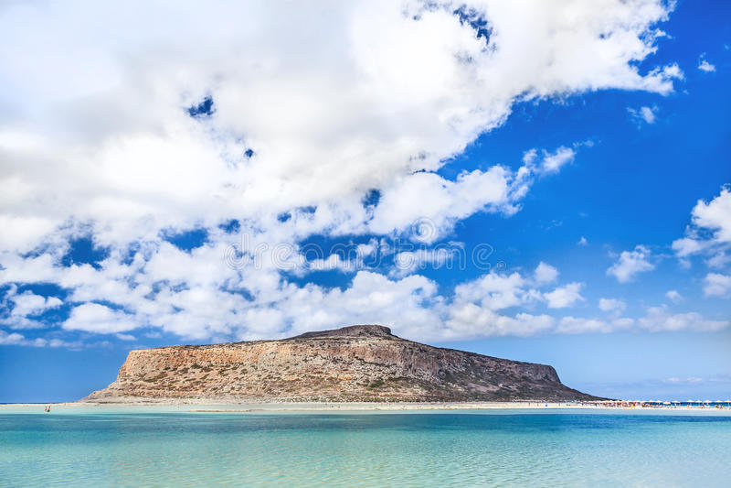 Vista impressionante da baía de Balos na ilha da Creta, Grécia imagem de stock royalty free