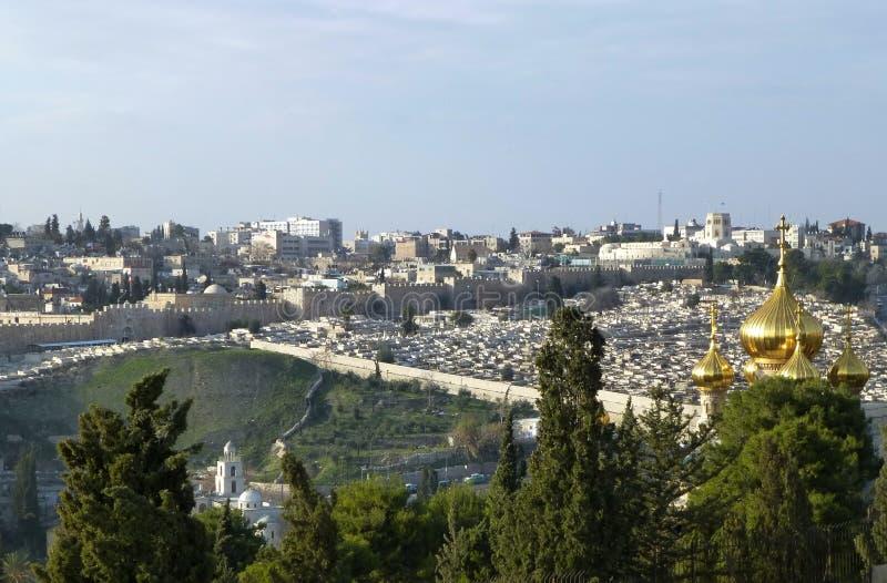 Vista impressionante di Gerusalemme dal monte degli Ulivi, Israele immagini stock libere da diritti