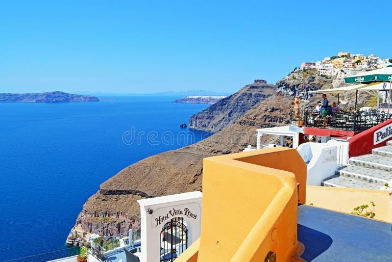 Vista impressionante Grecia di lungomare dell'isola di Santorini immagine stock libera da diritti