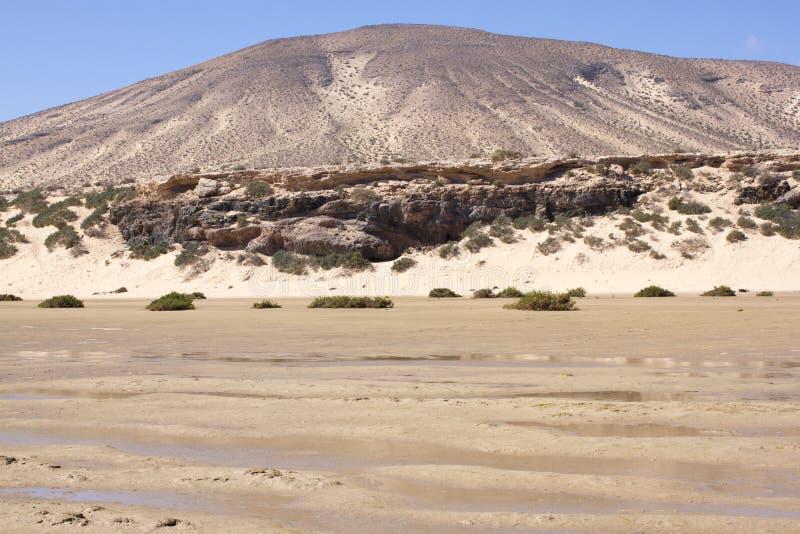 Vista increíble de la playa de Costa Calma, laguna clara azul Playa Barca, Fuerteventura, islas Canarias, España fotografía de archivo