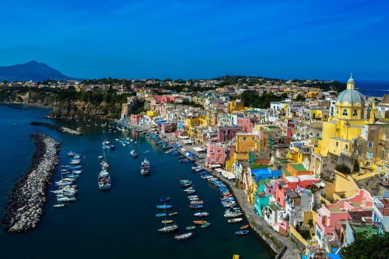 Vista increíble del Procida hermoso, Nápoles, Italia fotografía de archivo libre de regalías