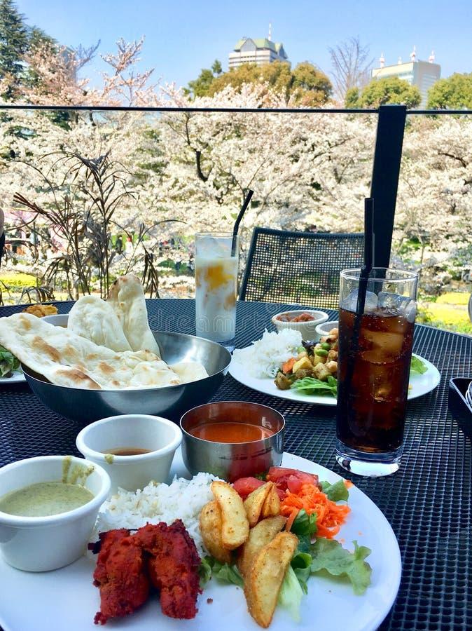 Vista indiana del pranzo degli alimenti per il fiore di ciliegia fotografia stock