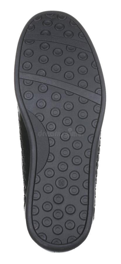 Vista inferior de la bota masculina de cuero negra del verano fotografía de archivo libre de regalías