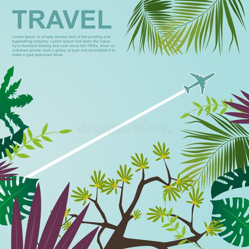 Vista inferior do avião que voa sobre a selva ilustração do vetor