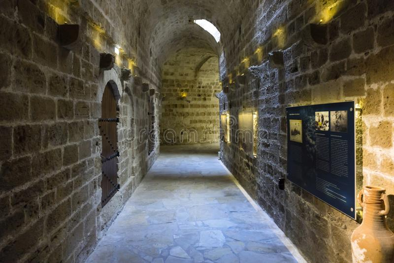 Vista interior de la fortaleza Koules Castello una yegua fotografía de archivo libre de regalías