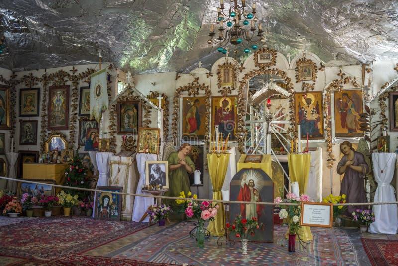 Vista interior de la iglesia ortodoxa rusa foto de archivo
