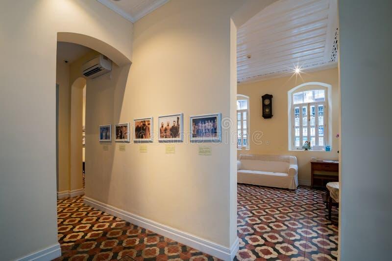 Vista interior de la residencia anterior del tintín famoso del general YE foto de archivo