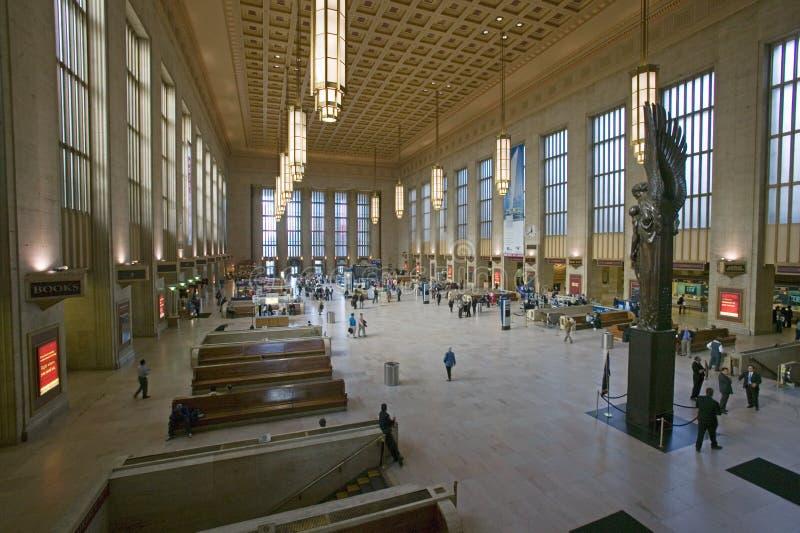 Vista interior de la trigésima estación de la calle, un registro nacional de lugares históricos, estación de tren de AMTRAK en Ph fotografía de archivo