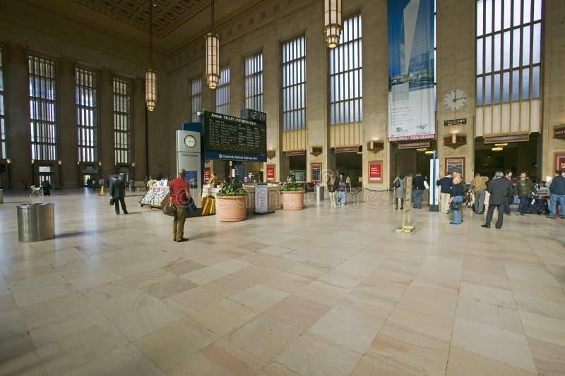 Vista interior de la trigésima estación de la calle, un registro nacional de lugares históricos, estación de tren de AMTRAK en Ph imagenes de archivo