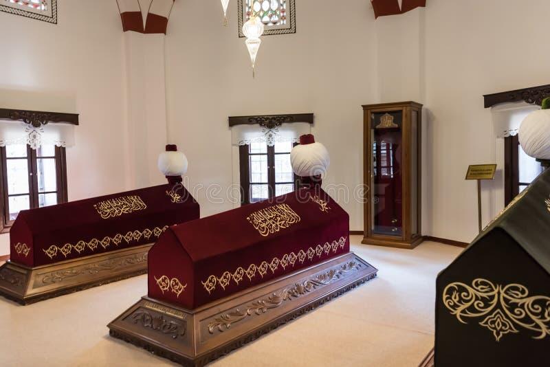Vista interior de la tumba de Akshamsaddin en Bolu, Turquía fotografía de archivo libre de regalías