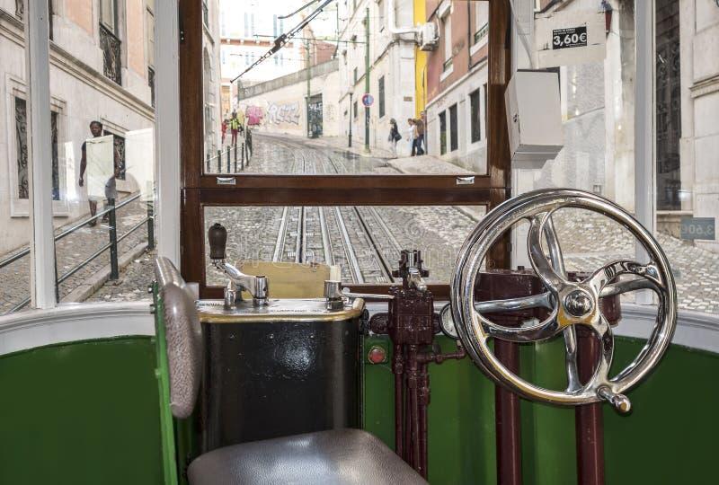 Vista interior de una carlinga de la tranvía imagen de archivo