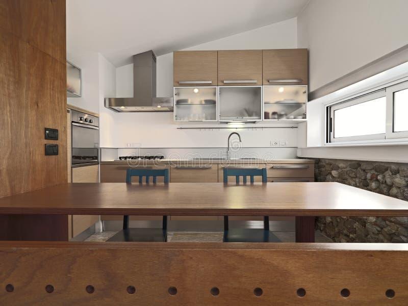 Vista interior de una cocina moderna de madera foto de for Una cocina moderna