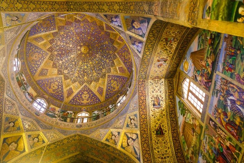 Vista interior de Vank, catedral santa armenia del salvador Nuevo Julfa, Isfahán, Irán fotos de archivo